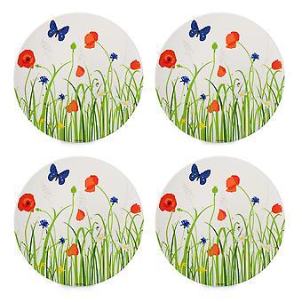 Mepal Set of 4 Flow Melamine Dinner Plates, Fields of Flowers