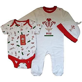 Wales WRU Rugby Baby 3 Piece Gift Set | White | 2019/20 Season