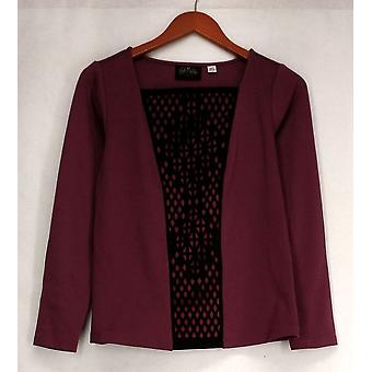 Bob Mackie Top XXS Cut Out Front Long Sleeve Purple Womens