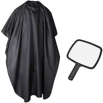 TRIXES Handheld Mirror and Barber Cape Full Length Hairdressing Gown Black