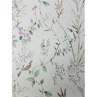 Floral Birds Papel de Parede Plum Plum Cinza Rosa Flor Metálica Decoração Mariko