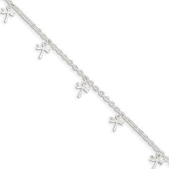 925 Sterling Silver Fancy Lobster Closure Polished Dragonfly With 1inch Ext. Anklet - 9 Inch