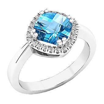 Anillo de compromiso Dazzlingrock Collection 14K 7 MM cojín azul topacio y redondo diamante señoras Halo, oro blanco