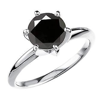 Dazzlingrock kollektion 10K 2,50 Carat (CTW) runde sorte diamant damer Solitaire engagement ring 2 1/2 CT, hvid guld