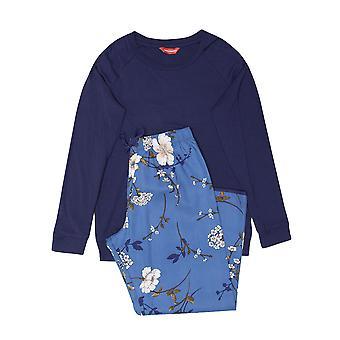 Minijammies 5566 Girl's Heather Navy Blue Floral Print Cotton Woven Pyjama Set