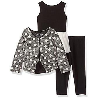 PIPPA & JULIE Baby Girls Two Tops and A Legging 3-Piece Outfit Set, Ivory/Gre...
