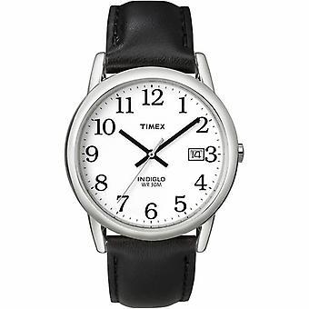 Timex Leser Datum Leder Armband Herrenuhr - weiß/schwarz (Modell-Nr. T2H281)