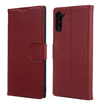 Para Samsung Galaxy Note 10 Caso vermelho cowhide genuíno couro capa de carteira flip