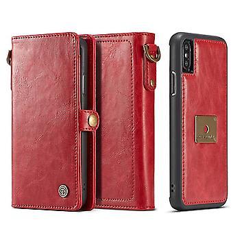 Für iPhone XR Fall, rot abnehmbare Folio Ledertasche, 6 Karte Slots