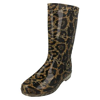 Ladies Spot On Calf High Leopard Print Wellington Boots