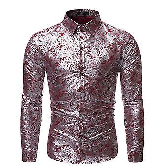 Allthemen män ' s silver tryckt klänning skjorta blommig print Långärmad shirts