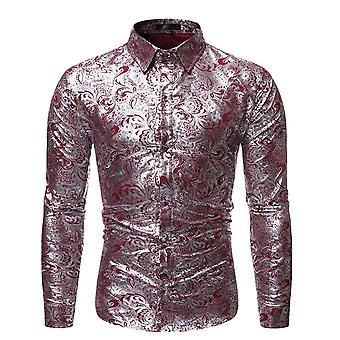 Allthemen Men's Silver Printed Dress Shirt Floral Print Long Sleeve Shirts
