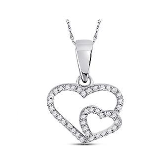 1/10 Carat (ctw G-H, I2-I3) Double Heart Diamond Pendant Necklace in 10K White Gold with Chain