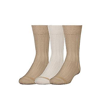 Gold Toe Boys' breite Rippe Kleid Crew Socken, 3-Paar, Khaki/Stein/Khaki, klein