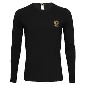 Versace Iconic Crew-Neck Long-Sleeve T-Shirt, Black