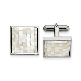 17.09mm Stainless Steel Polished With Simulated Mother of Pearl Cuff Links Jewelry Gifts for Men