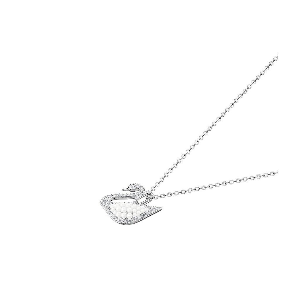 Swarovski Iconic Swan Rhodium Plated With Clear Crystal & Pearl Pendant 5411791