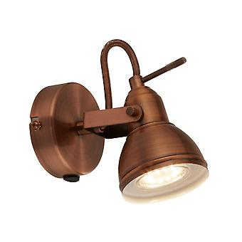 THLC Industrial Style Adjustable Wall Spotlight In Brushed Copper Finish