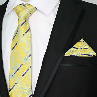 Canary yellow & purple paisley pocket square & necktie