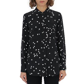 Equipment Q157e231blkbrwht Women's Black Silk Shirt