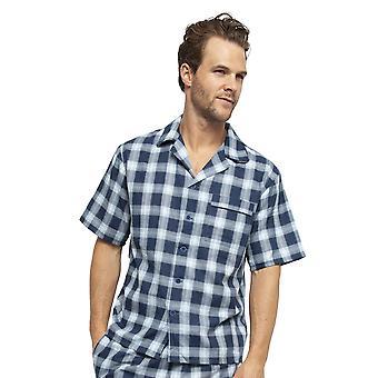 Cyberjammies 6450 Männer's Billy Blue Check Baumwolle gewebt Pyjama Top