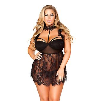 Plus Size Flirty Strappy Cup Sheer Lace Babydoll Lingerie