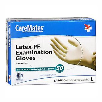 Caremates latex-pf examination gloves, large, 50 ea