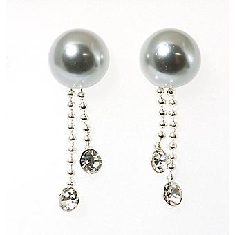 TOC Sterling Silver Simulated Pearl & Crystal Set Drop Earrings 23mm