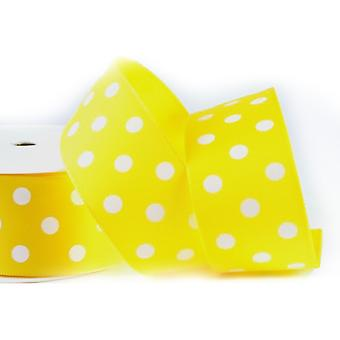 20m Yellow 38mm Wide Polka Dot Satin Ribbon for Crafts