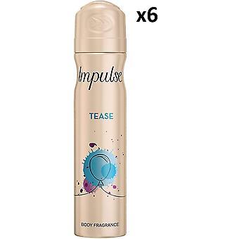 6 X Impulse Deodorant Body Spray 75Ml - Tease