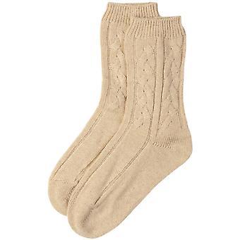 Johnstons of Elgin Cable Knit Cashmere Bed Socks - Natural Beige