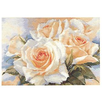 Kit Alisa Cross Stitch - Rosas Brancas