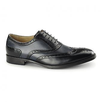 Azor Cresto Mens Pelle Oxford Brogues Nero / navy