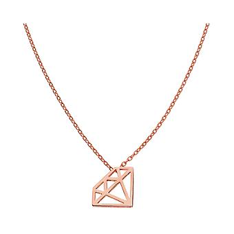 Ah! Bijoux 18K Rose Gold Over Sterling Silver Open Work Diamond Necklace, Stamped 925