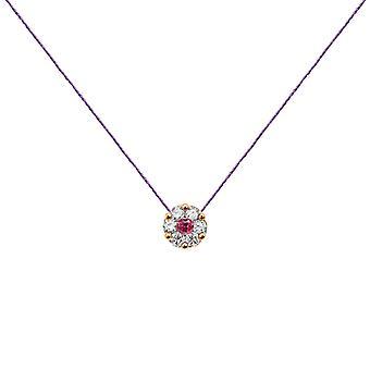 Collier duchesse Full Diamonds sur Ruby et 18K Gold, On Thread - Rose Gold, Lilac