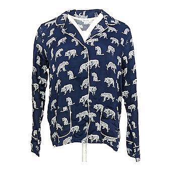 Herrliche Frauen's Pyjama Top gewebt Rayon Kerbe Kragen Gepiped blau A347858