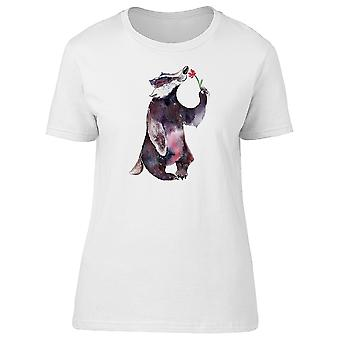 Badger Smelling A Flower Tee Women's -Image by Shutterstock