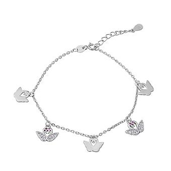 "ELANZA 0.48 Ct Cubic Zirconia CZ Charm Bracelet Sterling Silver Sz 7"" 1"""