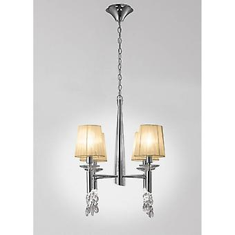 Tiffany Pendant Lamp 4 + 4 Bulbs E14 + G9, Polished Chrome With Lampshades Bronzes & Crystal Clear