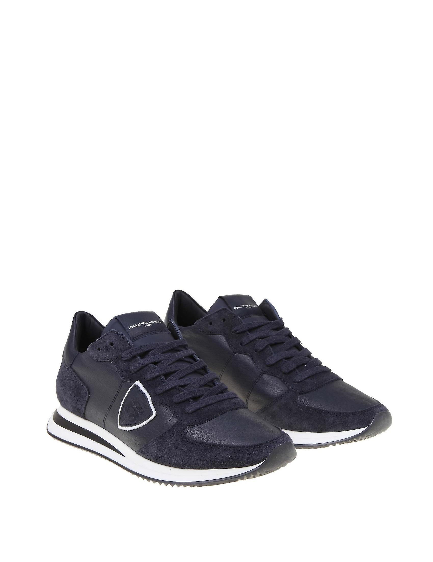 Philippe Model Tzlu5005 Baskets en cuir bleu pour hommes