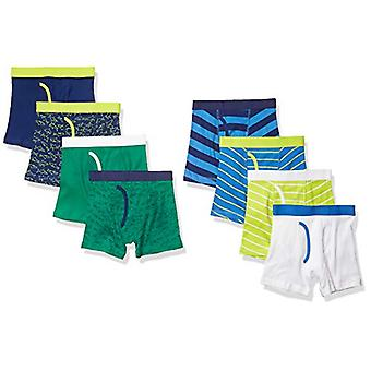 Essentials Boy's 8-Pack Boxer Brief, Sharks and Stripes, M