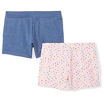 Brand - Spotted Zebra Girls' Toddler 2-Pack French Terry Knit Shorts, ...
