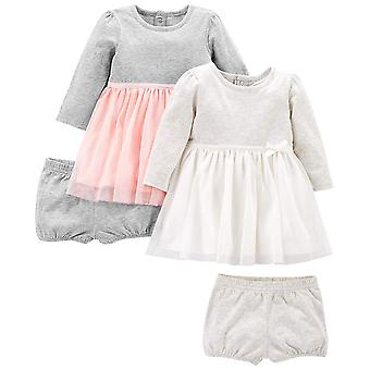 Simple Joys by Carter's Girls' 2-Pack Long-Sleeve Dress Set with Bloomers, Pink/Gray, 6-9 Months