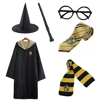 Harry Potter 6pc Set Magic Wizard Cosplay Naamiaispuku Cape Cloak Puku