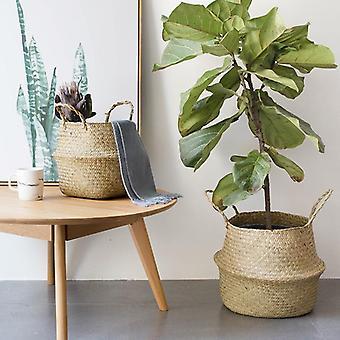 Household Storage Foldable Natural Seagrass Woven Storage Basket - Flower Vase