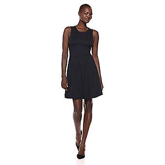 Brand - Lark & Ro Women's Sleeveless Wide Scoop Neck Fit and Flare Dress, Navy, X-Small