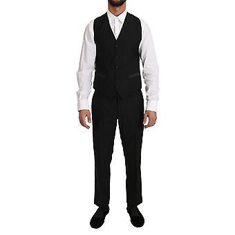 دولتشي وغابانا الصوف الأسود اللباس صدرية جيليت سترة - TSH2167280