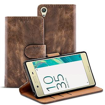 Vintage Wallet for Sony Xperia X Performance Card Slot TPU Magnetic Lock Stylish Brown