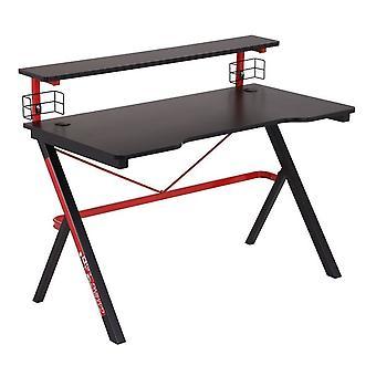 Stół do gier z uchwytami na kubki i wyjścia kablowe - czarny i czerwony