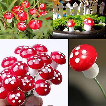 10pc 2cm Artificial Mini Mushroom Miniatures - Fairy Garden Moss Terrarium